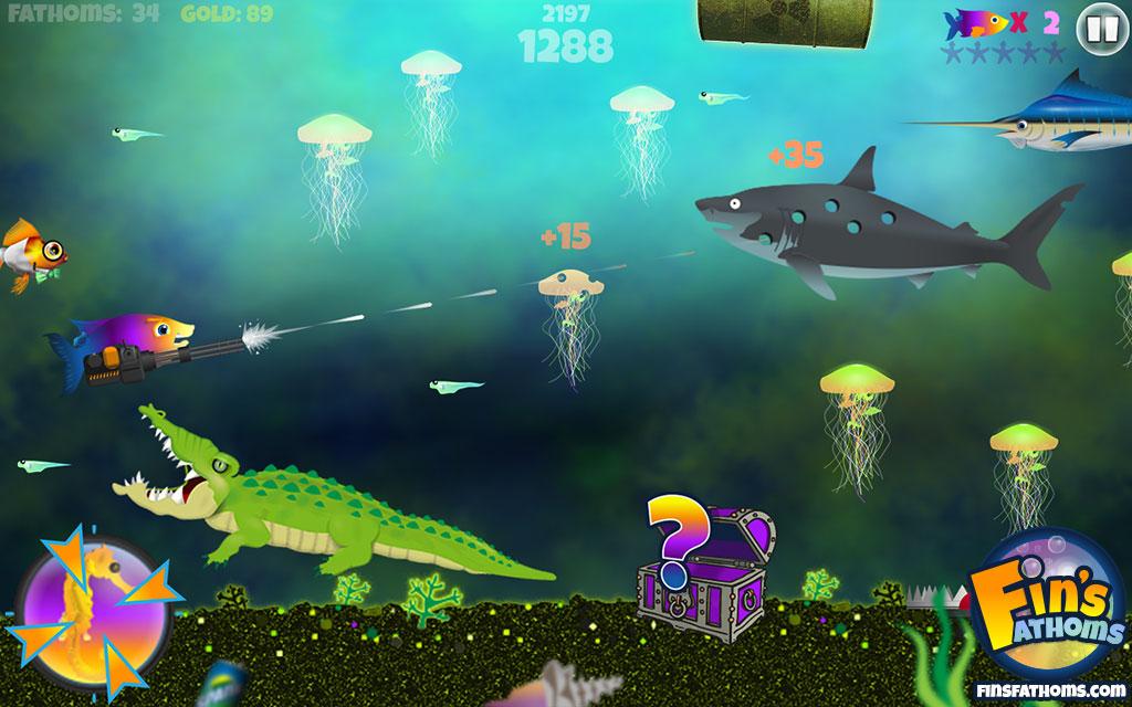 Fin's Fathoms® level 3 gameplay with alligator and minigun.